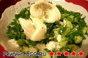 Зеленый салат на твороге
