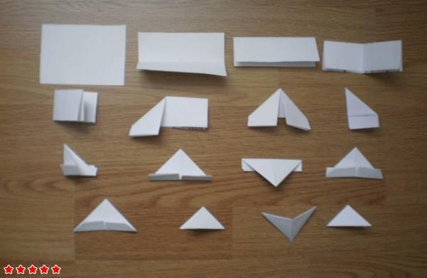 Схема сборки одного модуля выглядит следующим образом.  Итак, главный элемент оригами, это модули.